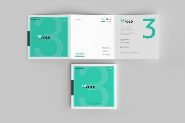 Mockup di brochure quadrate ripiegabili