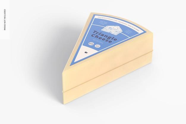 Mockup di formaggio a triangolo, vista prospettica
