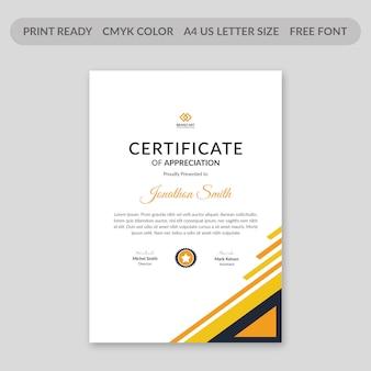 Modello di certificato di triangoli