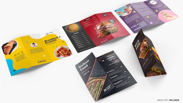 Collezione di brochure a tre ante mockup