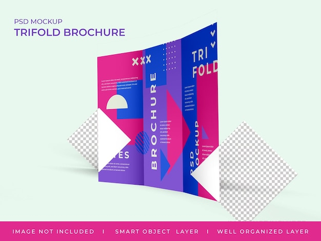 Brochure a tre ante mockup design isolato