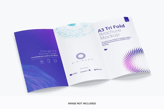 Mockup brochure pieghevole a tre ante Psd Premium