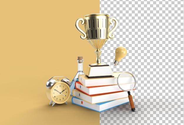 Coppa trofeo con lente d'ingrandimento e lampadina con libri.