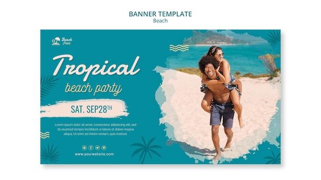 Modello di banner per feste in spiaggia tropicale