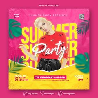Banner web per social media con volantino festa in spiaggia estiva tropicale