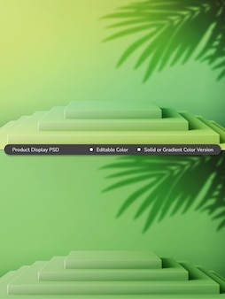 Rendering 3d della composizione della piattaforma del prodotto a livello di colore solido o gradiente estivo tropicale