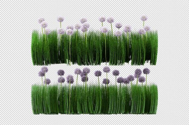 Alberi e fiori tropicali nella rappresentazione 3d isolata Psd Premium