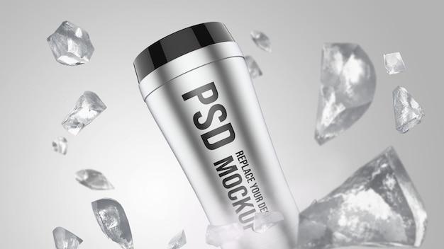 Bicchiere 3d rendering mockup design