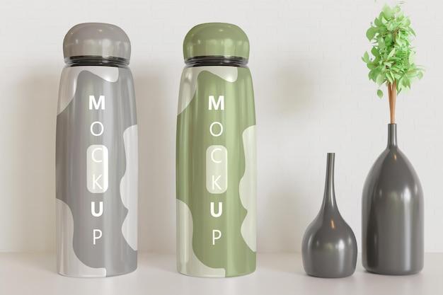 Mockup di bicchiere con decorazione a vaso
