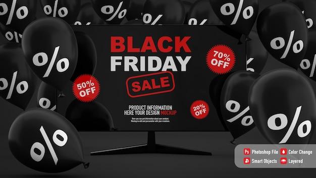 Mockup tv per il black friday con palloncini neri
