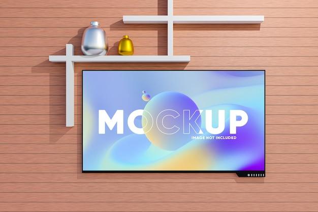 Mockup di schermo tv con interni minimi