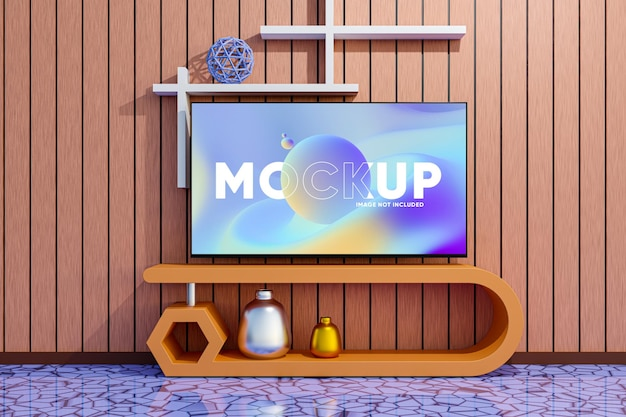 Mockup di schermo tv con interni moderni
