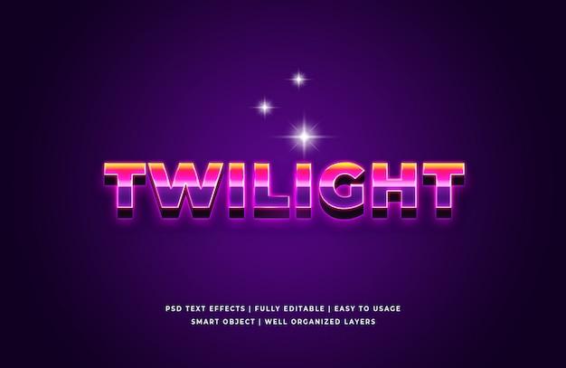 Twilight 3d text style effect premium psd