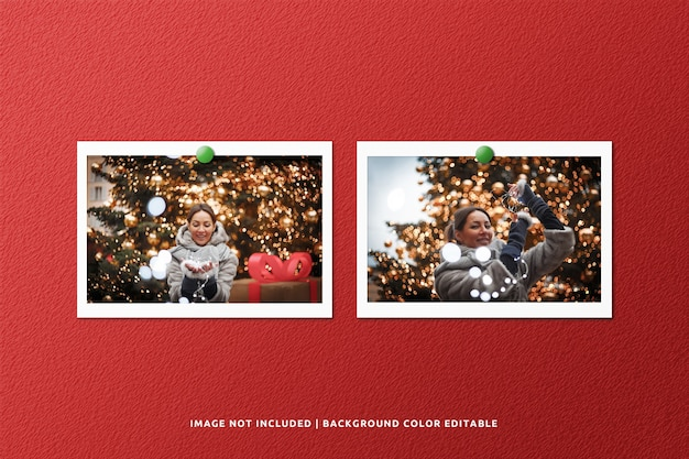 Twin landscape paper frame photo mockup per natale