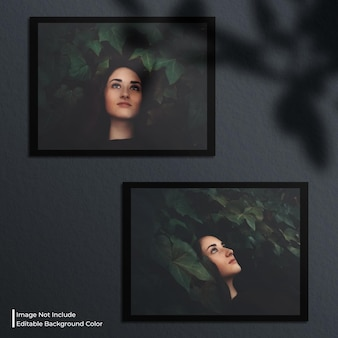 Mockup fotografico con doppia cornice di carta orizzontale con ombra