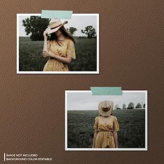 Mockup fotografico con doppia cornice di carta orizzontale