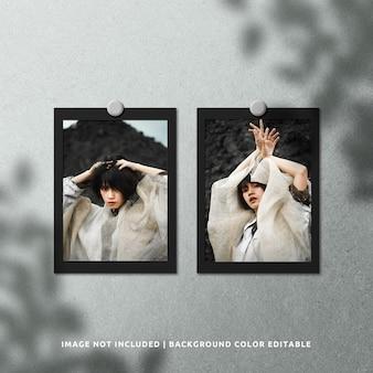 Mockup di cornice per foto in carta nera con doppio ritratto con sovrapposizione di ombre