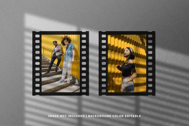 Mockup di fotogrammi di carta per film classico con doppio ritratto