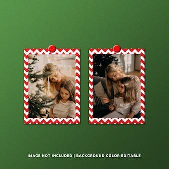 Twin portrait paper frame mockup per natale