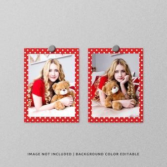 Mockup di foto con cornice di carta per ritratto gemello per natale