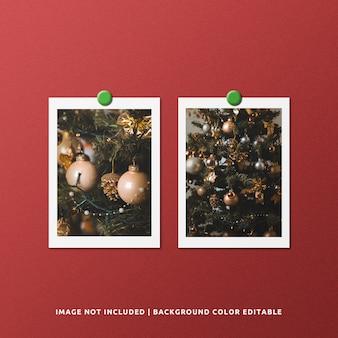 Mockup di foto con cornice di carta doppia per ritratto per natale