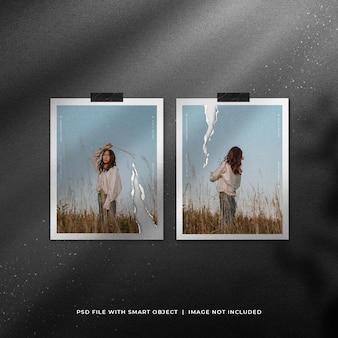 Mockup di cornice per foto polaroid doppia strappata con particelle glitterate