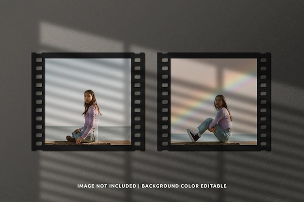 Mockup di fotogrammi di carta per film classico quadrato doppio