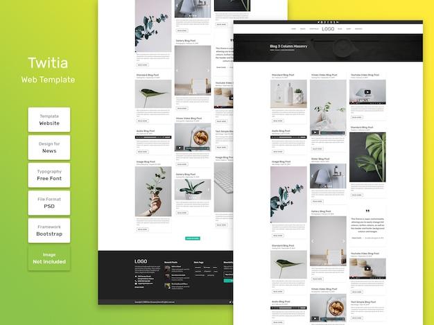 Modello web della pagina di categoria del blog personale di twitia