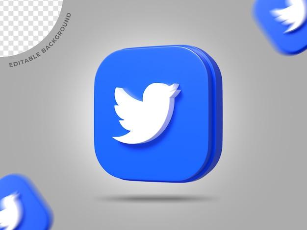 Twitter 3d logo social media render sfondo modificabile ic