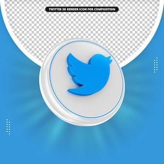 Twitter 3d rendering icona per la composizione