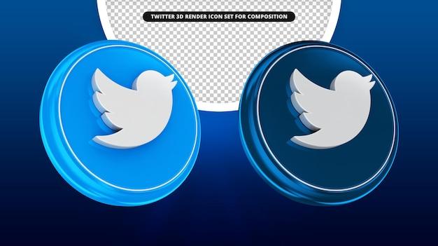 Twitter 3d render icon set isolato