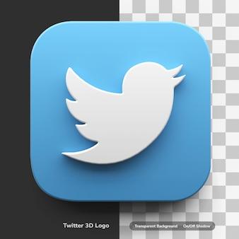 Twitter apps stile di design di tendenza del logo 3d nell'asset dell'icona della scatola dell'angolo rotondo