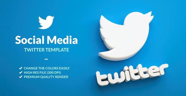 Logo dell'uccello di twitter isolato su uno sfondo blu per il modello di marketing dei social network nel rendering 3d