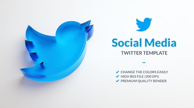 Logo dell'uccello di twitter isolato su uno sfondo bianco per il modello di social media marketing nel rendering 3d