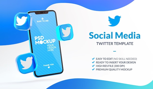 Icone fluttuanti di twitter e mockup del telefono per il modello di social media marketing in rendering 3d
