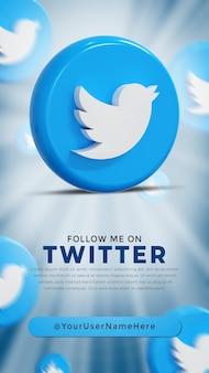 Logo lucido di twitter e icone dei social media story