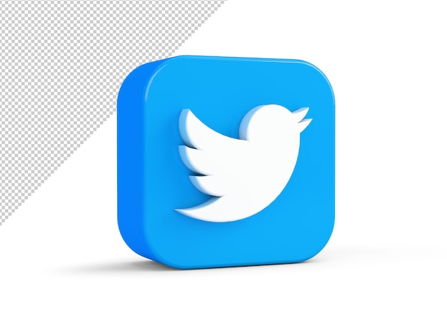 Mockup di icona di twitter nel rendering 3d