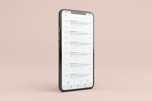 Modello di mockup dell'interfaccia mobile di twitter