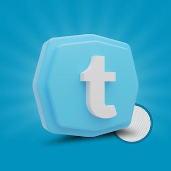 Twitter poligono 3d icona rendering