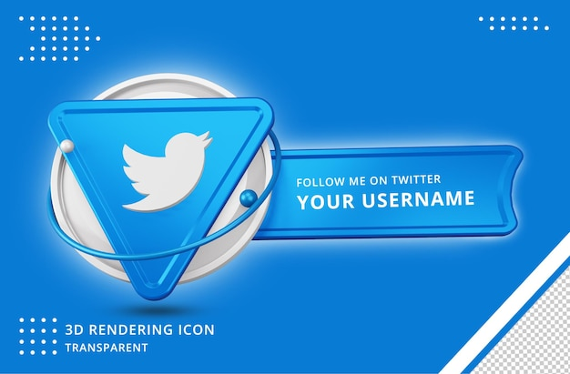 Icona del profilo twitter nel rendering 3d