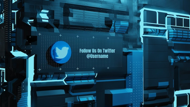I social media di twitter ci seguono con il futuro sfondo del muro della tecnologia al neon 3d