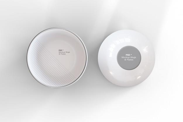 Un modello di due ciotole in bianco