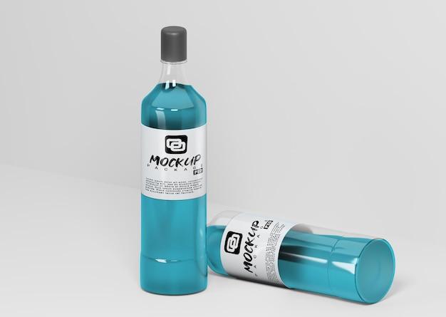 Mockup di due bottiglie vista laterale dall'alto Psd Premium