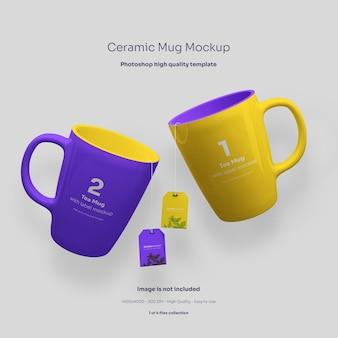 Due tazze in ceramica con etichette hang mockup