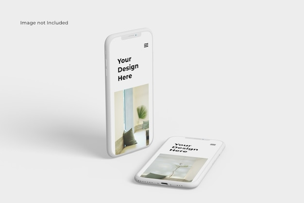 Due mockup del dispositivo smartphone clay