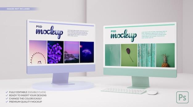 Mockup di monitor per computer a due colori su bianco per il concetto di web ui ux nel rendering 3d