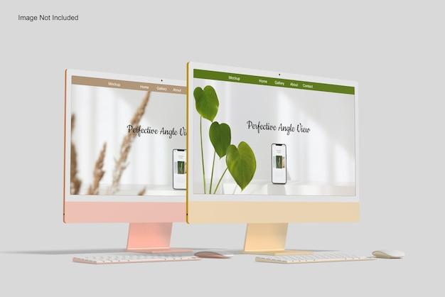 Mockup dello schermo del desktop di due computer