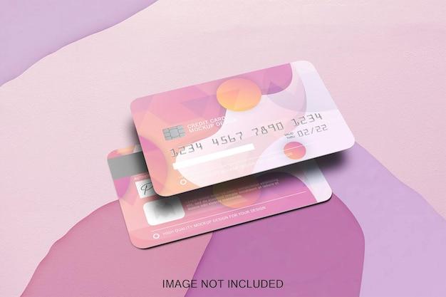 Due carte di credito mock up isolato