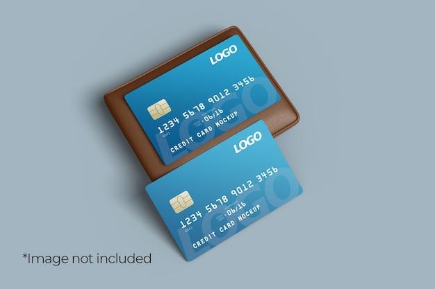 Design di mockup di due carte di credito con vista ad angolo sinistro del portafoglio