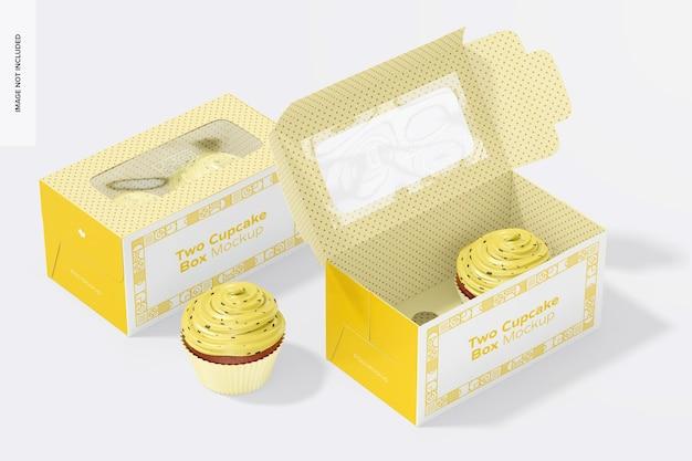 Due scatole per cupcake mockup, aperte e chiuse